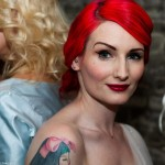bride, bridal, vintage, hair, makeup, red