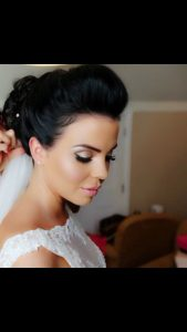 Close up of dark haired bride